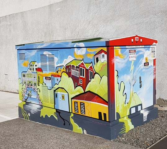 Mahora Street Electricity Box mural